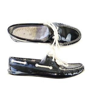 Sperry Top-Siders Patent Leather Boat Shoes Black